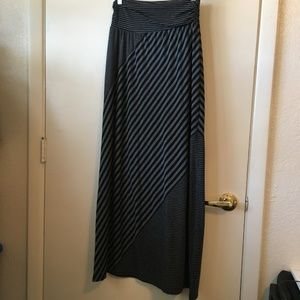 Maurices Black/Grey Striped Maxi Skirt